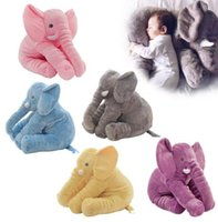 Wholesale Doll Lumbar Pillow - 40cm Elephant Pillow INS Lumbar Pillows Long Nose Sleep Pillow Cushion Elephant Dolls Baby Soft Plush Toys Sleeping Pillow 5 color KKA2747