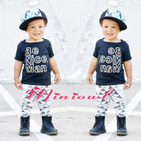 Wholesale Girls Nice Tops - NWT 2016 Cute Cartoon outfits Baby Girls Boys cotton Outfits Summer Sets Boy Cotton Tops Shirts Vest + Harem Pants -Be Nice Man