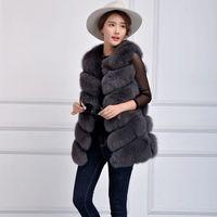 Wholesale Real Feather Vest - Long size full pelt genuine fur vest full size , natural fox color quality real fox fur vest coat M L XL for winter