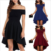 Wholesale Party Swallow - Fashion Asymmetrical Pure Off Shoulder Bateau Neck Short Sleeves Swallows Sexy Short Skirt Cheap Women Dress 2017