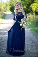 Wholesale Half Sleeve Purple Wedding Dress - Navy Blue Chiffon Country Bridesmaid Dresses 2017 Lace Long Wedding Party Dress with Half Sleeves Cheap Backless Sequins Maid of Honor Gowns