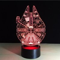 Wholesale Led Light Wigs - Star Wars Millennium Falcon 3D Stereoscopic Visual Light Acrylic Lamp LED Lamp Atmosphere Colorful Gradients