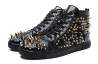 Wholesale Nail Shoes Running - [Original Box] France Desingers Party Shoes Triangle Nails Spikes Red Bottom Sneakers Suede Leather 4 Seaons Wear, 36-46