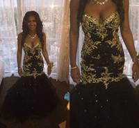 siyah boncuklu korse balo elbiseleri toptan satış-Büyüleyici Siyah ve Altın Sevgiliye Abiye 2016 Yeni Mermaid Kristal Boncuklu Dantel Aplike Korse Balo Elbise Kat Uzunluk Parti Törenlerinde
