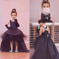 grandes robes de bal de fleur achat en gros de-Haute Low Flower Girl Robes Pour Mariages Jewel Layers Satin Et Tulle Filles Pageant Robe Big Bow Perles Perles Enfants Party Robes De Bal