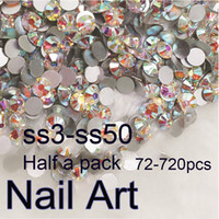 Wholesale cell phone nails - Wholesale- Half A Pack SS3-SS50 Crystal AB Nail Art Rhinestones With Round Flatback For Nails Decoration Cell Phone Clothes And Bags