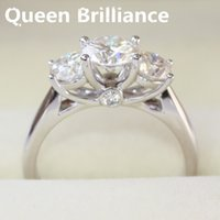 Queen Brilliance Genuine 14k 585 en or blanc 2 cttw G-H Engagement Mariage Moissanite Diamond Ring 3 Stone, Anniversary Ring Gift 17903