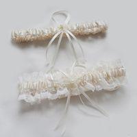 Wholesale Bow Legging - 2016 Ivory Sexy Lace Satin Bowknot Bridal Garter Set Wedding Prom Accessoreis Leg Garters Belt