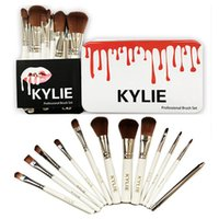 Wholesale Professional Make Up Boxes - 12pcs Kylie Professional Brush Sets for Makeup Brands Makeup Brushes Eyeshadow Blush Lips Cosmetic Tools Make Up Brush Kit with Iron Box