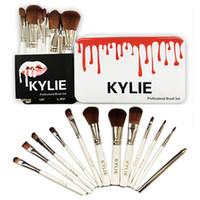 Wholesale Blush Brushes - 12pcs Kylie Professional Brush Sets for Makeup Brands Makeup Brushes Eyeshadow Blush Lips Cosmetic Tools Make Up Brush Kit with Iron Box