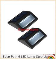 su geçirmez basamaklı ışıklar toptan satış-YON Güneş Yolu 6 LED Lamba Adım Işıkları IP55 Su Geçirmez Kablosuz Led Güneş Güvenlik Aydınlatma Açık Bahçe Veranda Sundurma Oluk Fener