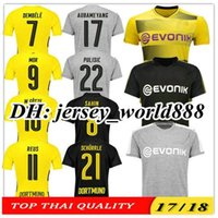 Wholesale Dortmund Soccer - THAI TOP QUALITY 17 18 Dortmund home yellow soccer jersey 2017 2018 AUBAMEYANG GOTZE DEMBELE PULISIC REUS MOR SAHIN away 3RD football shirts