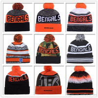 Wholesale Cheap Baseball Beanies - Hot Sale Bengals Beanies Cheap Football Pom Pom Beanies High Quality Sports Beanie Hats Brand Knitted Skull Caps all Baseball Team Beanies