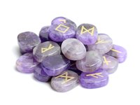 Wholesale Carved Bedroom Sets - Set of 25 Natural Amethyst Carved Crystal Reiki Healing Palm Stones Engraved Pagan Lettering Wiccan Rune Stones Set with a Free Pouch