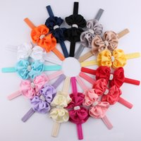 Wholesale Hairband Girl Elastic - Newest !!! 2016 Baby Girls Double Layer Bowknot Headbands Satin Elastic Rhinestone Pearl Hair Accessories Headwear Hairband For Girls KHA393
