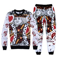 Wholesale Suited Poker - Poker patterns Joggers Hoody sets Playing cards queenQ king print Sweatshirt Pants Relaxed Trousers Sports Running Gym Suits Xmas gifts 2col