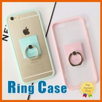 Wholesale Brown Rhinestone Ring - Finger Ring Case Cute Candy Soft TPU Ring Stand Back Cover Phone Cases For iPhone 7 6 6s Plus 5 5S SE