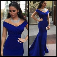 Wholesale Charm Flowing Dress - Charming Royal Blue V Neck Mermaid Prom Dresses Floor Length Off The Shoulder Flowing Chiffon Formal Party Dress With Ruched