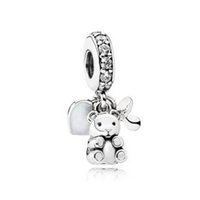 Wholesale Bead Treasures - Authentic 925 Sterling Silver Beads Baby Treasures Dangle Charm, Clear CZ Fits European Pandora Style Jewelry Bracelets & Necklace
