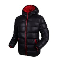 Wholesale Mens Thick Lined Winter Coat - Wholesale- Hooded Windproof Warm Winter Jackets Mens Coat Plus Size Fashion Contrast Color Lining Padded Down Jacket Casacos Masculino