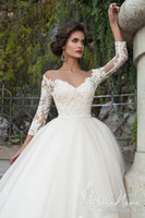 Wholesale Long Monarch Train Wedding Gowns - 2017Modern White Plus Size Wedding Dresses Lace Applique 3 4 Long Sleeve Sweetheart Wedding Gowns Monarch Train A Line Bridal Dresses Cheap