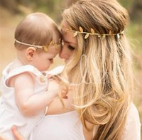 Wholesale Gold Leaves Hairband - Mommy and Me Gold Silver Leaf Headband Set For Hair accessories Peace Olive branch Baby Girl Cute Leaves Infantil hairband