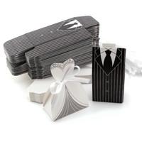 ingrosso scatole da sposa smoking-100Pcs Candy Boxes Tuxedo Abito abito da sposa e sposo regalo di nozze Caramella Favore Rifornimenti del partito Spedizione gratuita