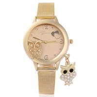 Wholesale Female Alloy Owl - Brand Fashion Owl Pendant Quartz Women Wrist luxury Watches Stainless Steel Mesh Belt Ladies Wristwatch Female Clock Relogi
