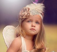 Wholesale Fancy Baby Headbands - Children Girls Baby Headwarp For Photography Wedding Party Pearls Beading Crystal Feather Fancy Headband Infant Baby Hair Accessoories