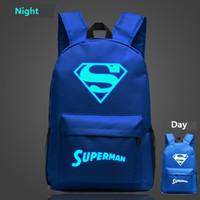 Wholesale Kids School Plain Backpacks - Free shipping!Night-luminous Superman backpacks teenagers marvel heros school bags boys girls kids backpacks travel bags