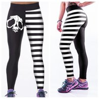 Wholesale Dry Bones - Elastic Yoga Pants High Waist 3D Print Leggings Fitness Body Sculpting Jogging Trousers Workout Quick Dry Black White Skull Bone LNASlgs