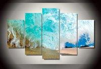 grupos de fotos al por mayor-5 Unidades HD Impreso Grupo de olas de playa Pintura sobre lienzo decoración de la habitación cartel de impresión lienzo enmarcado Envío gratis