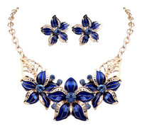 Wholesale Eastern Indian Earrings - Hot Seling 18K Gold Plated Austrian Crystal Enamel Flower Jewelry Sets Fashion 2016 African Necklace and Earring Set for Women DHW254