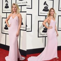 Compra Riconoscimenti-2016 Ellie Goulding Grammy Awards sexy celebrità veste Split laterale Halter Red Carpet Gown raso sweep treno abito speciale occasione
