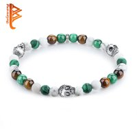 Wholesale Colorful Skull Bracelets - BELAWANG Silver Plated Skull Head Fashion Jewelry Gift Natural Stone Wrist Bracelet Colorful Malachite Beaded Strands Bracelets For Friends