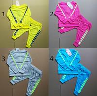 Wholesale Baby Winter Set Coat Trousers - Boys girls letters Sports suits children 4 Color Long sleeve coat+trousers 2pcs set suit baby clothes B001