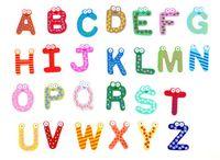 Wholesale Letter Magnets For Fridge - Education Learning Toys Wooden 26 set Alphabet Letters Cartoon Words Fridge Magnets Wood Crafts Home Decorations for Kids Children Gifts