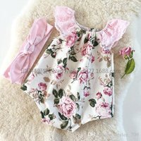 Wholesale Girl Summer Romper - 2016 New Summer Infant Baby Rompers Cute Girl Lace Sleeveless Jumpsuits Toddler Floral Printing Onesies One-Piece Kids Cotton Romper
