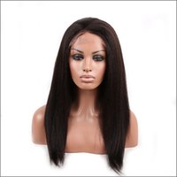 Wholesale Yaki Swiss Lace Front Wigs - lace front wigs human hair virgin remy hair natural off black color brown color yaki straight 130% density mid size in stock free shipping