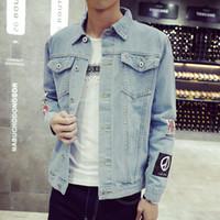 jeans casual plus al por mayor-Venta al por mayor- Más el tamaño M-5XL 2016 chaqueta de mezclilla de los hombres de moda de alta calidad Jeans Chaquetas delgado streetwear casual Vintage Mens jean ropa