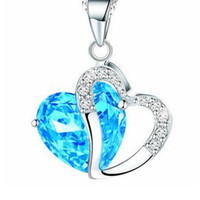Wholesale Heart Shaped Sweater - Heart Shape Necklace 925 Sterling Silver Pendant Crystal Necklace Jewelry Necklace Diamond Ladies Fashion Sweater Chain DHL