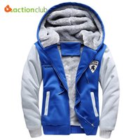 Großhandels- ACTIONCLUB Winter verdicken Hoodies Mens Patchwork Zipper Kapuzenmantel 5XL Wolle Liner Trainingsanzug Sweatshirt Plus Größe Warme Hoodies