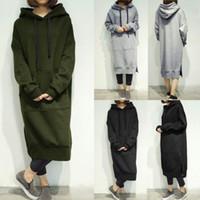 Wholesale Women Loose Grey Sweatshirts - Women Hooded Long Hoodies Tops Loose Fleece Lined Casual Sweatshirt Long Dress Plus Size L-5XL Color:Black Grey Army Green