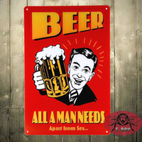 Wholesale Sex Wall Art - Beer all a man needs Aparts from sex wall hanging Paintings metal wall art A-93 160909#