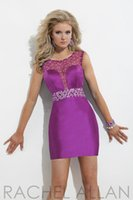 Wholesale Blue Magenta Dress - 2014 Cute sheath Crew Magenta Sheer Tulle cocktail gowns Crystals Beads sweetheart cut Back Graduation Dresses