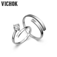 Wholesale Simple Silver Rings For Men - 925 Sterling Silver Ring Platinum Plated Simple Open Rings Lover For Women Men Resizable Fine fashion Jewelry Wedding Rings VICHOK