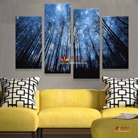 Wholesale Canvas Paintings Sky - Unframe 4 Panels Modern Abstract Canvas Prints Artwork Beautiful Starry Sky Canvas Painting Wall Art Home Decor For Living Room Picture
