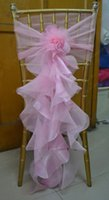 Wholesale Dark Green Organza Chair Sash - 2016 Pink Taffeta Organza Ruffles Chair Sash for Wedding Romantic Wedding Decorations Chair Covers Chair Sashes Wedding Accessories C62