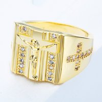 All'ingrosso-Anelli d'oro Gesù Design Croce scolpita per uomo Donna Anillos Bianco Cubic Zirconia Wedding Finger Ring Fine Jewelry Drop Shipping