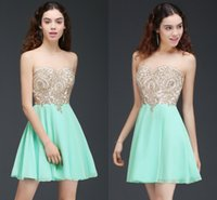 Wholesale sexy mint club dress resale online - In stock Hot Mint Green Chiffon Short Homecoming Dresses Sheer Jewel Neck Gold Appliqued With Beads A Line Graduation Party Dresses CPS674